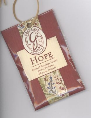 GREENLEAF SCENTED ENVELOPE CAR SACHET HOPE